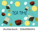 tea bags with lemon slices on a ... | Shutterstock .eps vector #1066086041