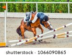 Stock photo young rider falling from horse during a competition horse show jumping accident equestrian sport 1066090865
