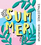 hello summer. cute card with... | Shutterstock .eps vector #1066107461