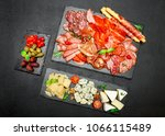 cold meat cheese plate with... | Shutterstock . vector #1066115489