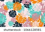 tropical leaves seamless... | Shutterstock .eps vector #1066128581