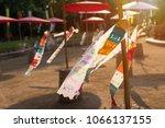sand pagoda songkran festival. | Shutterstock . vector #1066137155