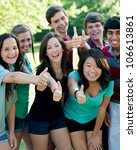 a multi ethnic group of teenage ... | Shutterstock . vector #106613861