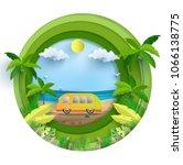 vector illustration on a summer ... | Shutterstock .eps vector #1066138775