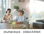 senior mother and daughter...   Shutterstock . vector #1066143464