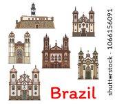 brazilian travel landmark icon... | Shutterstock .eps vector #1066156091