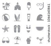 beach icons. gray flat design.... | Shutterstock .eps vector #1066160861
