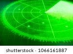 green radar screen with targets | Shutterstock . vector #1066161887