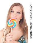 beautiful woman eating a... | Shutterstock . vector #106616264