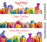 gift box and present packaging... | Shutterstock .eps vector #1066164425