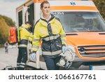 paramedic nurse and emergency... | Shutterstock . vector #1066167761