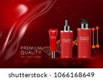 red cosmetic containers with...   Shutterstock .eps vector #1066168649