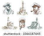 portrait of a sea captain....   Shutterstock .eps vector #1066187645