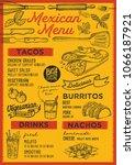 mexican restaurant menu. vector ...   Shutterstock .eps vector #1066187921