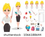 cheerful female teacher... | Shutterstock .eps vector #1066188644