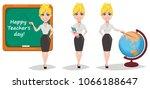 cheerful female teacher set.... | Shutterstock .eps vector #1066188647