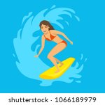 female surfer  girl riding a... | Shutterstock .eps vector #1066189979