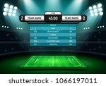scoreboard and soccer field... | Shutterstock .eps vector #1066197011
