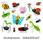 cartoon insects. vector cute... | Shutterstock .eps vector #1066203167