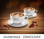 cups of cappuccino coffee...   Shutterstock .eps vector #1066211654