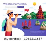 welcome to vietnam cartoon... | Shutterstock .eps vector #1066211657