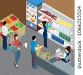grocery store isometric... | Shutterstock .eps vector #1066215524