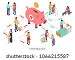 isometric flowchart with... | Shutterstock .eps vector #1066215587