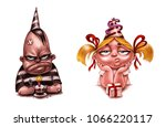 funny festive characters  cute...   Shutterstock . vector #1066220117