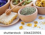 bowl full of cistus or rockrose ...   Shutterstock . vector #1066220501