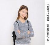 happy emotional teen girl... | Shutterstock . vector #1066223057