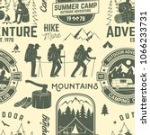 summer camp seamless pattern or ... | Shutterstock .eps vector #1066233731