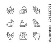 outline icons about easter | Shutterstock .eps vector #1066237031