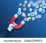 concept of attracting followers ...   Shutterstock .eps vector #1066239455