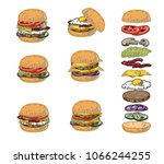 fast food. hamburger with...   Shutterstock .eps vector #1066244255