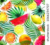 tropical trendy pattern with... | Shutterstock . vector #1066254707