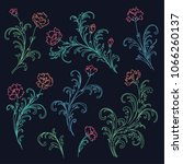 set of baroque style floral... | Shutterstock .eps vector #1066260137