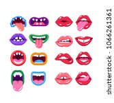 set of comic monster mouth with ... | Shutterstock .eps vector #1066261361