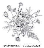 bouquet of black monochrome... | Shutterstock .eps vector #1066280225