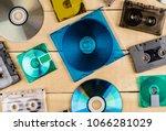 musical cassettes disk floppy... | Shutterstock . vector #1066281029