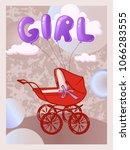 stroller with a newborn girl.... | Shutterstock .eps vector #1066283555