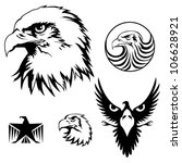 Eagle set.Set of heraldry realistic eagle head and symbol design elements, black colored.