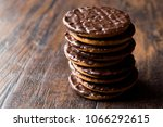 stack of chocolate covered... | Shutterstock . vector #1066292615