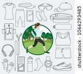 equipment for running. girl... | Shutterstock .eps vector #1066293485