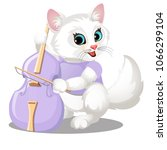 Stock vector cute animated furry kitty playing on pink cello isolated on a white background vector cartoon 1066299104