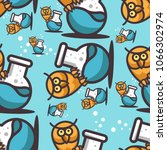 seamless pattern with owl and... | Shutterstock .eps vector #1066302974