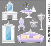 set of furniture white and pink ... | Shutterstock .eps vector #1066305974