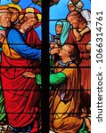 Small photo of PARIS, FRANCE - JANUARY 10: Jesus heals a blind man, stained glass windows in the Saint Eugene - Saint Cecilia Church, Paris, France on January 10, 2018.