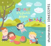 kids eating watermelon. summer... | Shutterstock .eps vector #1066322951