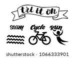 triathlon hand drawn lettering  ... | Shutterstock .eps vector #1066333901
