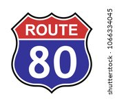 us route 80 sign  shield sign... | Shutterstock .eps vector #1066334045
